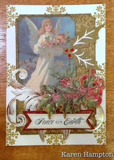 Angel Christmas card made with the Anna Griffin holiday traditions card kit https://www.pinterest.com/firemom5/my-anna-griffin-card-designs/