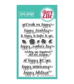 """Avery Elle Clear Stamp Set 4""""X6""""-So Happy"""