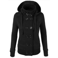 Womens Fall Double Breasted Fleece Sweatshirt Hoodie ** Visit the image link more details. (This is an affiliate link and I receive a commission for the sales) #FashionHoodiesSweatshirts