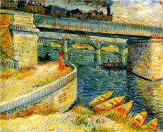 Vincent van Gogh - Bridges across the Seine at Asnieres 1887.