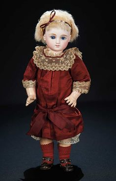 Gorgeous and Rare French Bisque Bebe by Jules Steiner with Original Costume