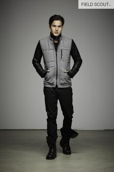 SJ109-H. GREY-SNIPER QUILTED JKT // FT104-BLACK-SPY TROUSER