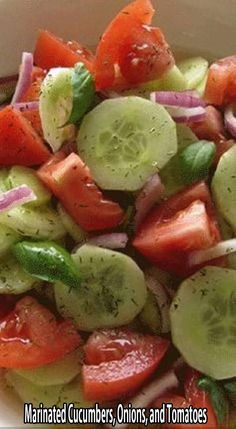 ingredients: 3 medium cucumbers, peeled and sliced 1/4 inch thick 1 medium onion, sliced and separated into rings 3 medium tomatoes, cut into wedges 1/2 cup vinegar 1/4 cup sugar 1 cup water 2 teaspoons salt 1 teaspoon fresh coarse ground black pepper 1/4