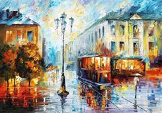"""Old Street — PALETTE KNIFE Cityscape Modern Art Deco Textured Oil Painting On Canvas By Leonid Afremov - Size: 40"""" x 30"""" (100 cm x 75 cm)"""