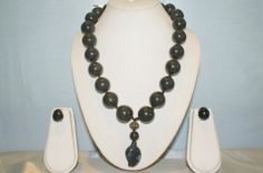 Super Elegant Necklace Made with Royal Black Onyx Rounds and Black Onyx Pendant. Simply Exudes Royalty.