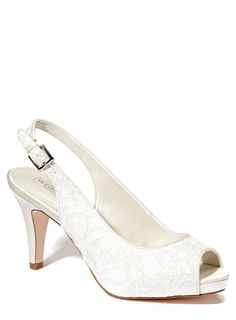 Ivory Wedding Collection Lace Platform Slingback Shoe - to give me a little extra height on the day aswell as looking glamorous.