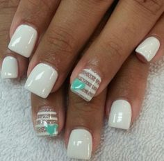 White with Bronze Strips and Teal Blue Heart Nail Art Design