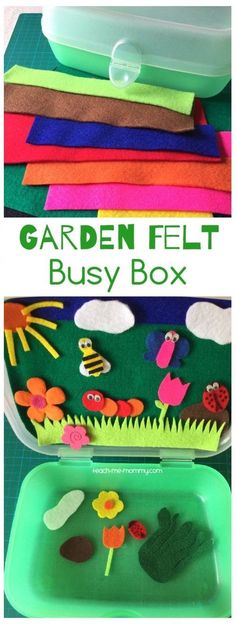 Felt Busy Box Make this fun garden themed busy box from scraps of felt and a lunch box! Perfect for traveling or quiet time!Garden Felt Busy Box Make this fun garden themed busy box from scraps of felt and a lunch box! Perfect for traveling or quiet time! Quiet Time Activities, Infant Activities, Preschool Activities, Toddler Travel Activities, Preschool Learning, Kids Crafts, Toddler Crafts, Operation Christmas Child, Busy Boxes