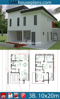 House Design Plans With 3 Bedrooms Plot House Car Parking small garden-Living Dining Kitchens,-Pantry-Wash House Plans 2 Storey, Duplex House Plans, House Layout Plans, House Plans One Story, Bedroom House Plans, Dream House Plans, Modern House Plans, House Layouts, 3d Home Design