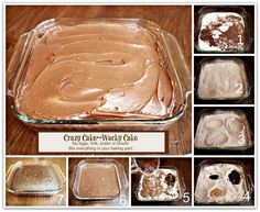 CRAZY CAKE, also known as Wacky Cake  Depression Cake- No Eggs, Milk, Butter,Bowls or Mixers!!! Crazy Moist  Good! Great activity to do with kids! Go to recipe for egg/dairy allergies. Recipe dates back to the Great Depression. Its really good cake!