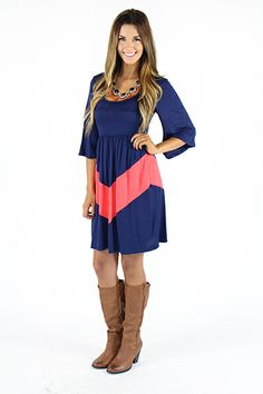 Lime Lush Boutique - Navy and Coral V Knee-Length Dress, $39.99 (http://www.limelush.com/navy-and-coral-v-knee-length-dress/)