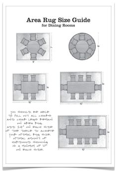 28. Area rug size guide: dining room - 50 Amazingly Clever Cheat Sheets To Simplify Home Decorating Projects