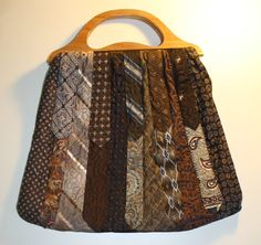 Handmade+Recycled+Necktie+Purse+Brown+with+by+AhLifeFabricDesigns,+$55.00