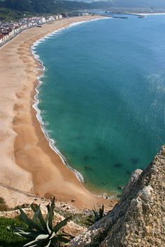 View of the beach at Nazare, Portugal