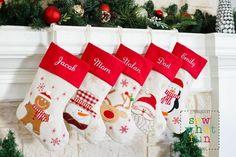 11 Beautiful Handmade Christmas Stockings that You Can Personalize Family Christmas Stockings, Embroidered Christmas Stockings, Baby Christmas Photos, Needlepoint Stockings, Pet Stockings, Monogram Stockings, Personalized Stockings, Christmas Knitting, Felt Christmas