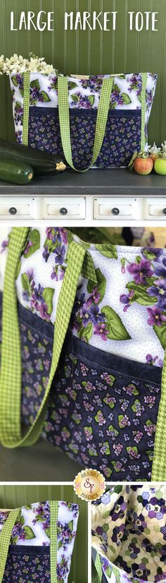 "Large Market Tote Kit Enjoy a trip to the local market with your Large Market Tote! This handy bag is made using the beautiful Maywood collection, Arabella. Five pockets in two different sizes adorn the outside of the tote, perfect for organizing and carrying groceries, quilting notions, and more! Long straps make this bag easy and comfortable to carry. Finished tote measures approximately 19""W x 14½""H x 7½""D (not including straps)."