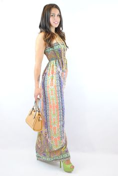 (ank) Tropical smocked boho maxi dress