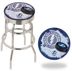Tampa Bay Lightning NHL D2 Retro Chrome Ribbed Ring Bar Stool. Available in 25-inch and 30-inch seat heights. Visit SportsFansPlus.com for details.