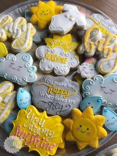 You are my sunshine baby shower cookies. Sunshine cookies You make me happy when skies are grey babyshower youaremysunshine 23151385571100924 My Little Sunshine Baby Shower, Sunshine Baby Showers, Sunshine Birthday Parties, First Birthday Parties, First Birthdays, Birthday Ideas, Baby Birthday Themes, Baby Shower Gender Reveal, Baby Boy Shower