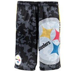 Men s Pittsburgh Steelers NFL Klew Black Camo Big Logo Shorts 4033d9e34