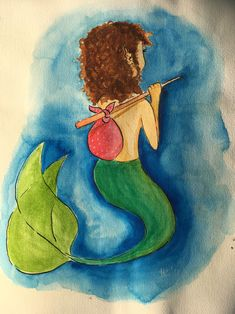 #wanderer #mermay #mermaid #watercolor #illustration Watercolor Illustration, Mermaid, Painting, Art, Young Women, Craft Art, Watercolour Illustration, Painting Art, Kunst