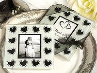 Black And White Hearts Theme Photo Coaster Favors