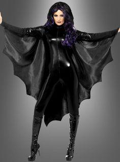 Fledermaus Cape für Damen - tolles Kostüm für Halloween und Karneval