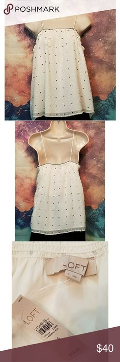 *NEW* Loft White Polka Dot Tank Top NWT Size Small LOFT Tops Tank Tops