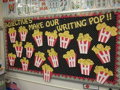 """Adjective Popcorn Activity:  pop some corn with your class and then use our senses to describe it using adjectives.  give each student 5 """"kernels"""" to write about their popcorn.  Yum & Fun"""