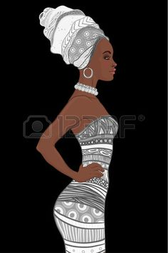 Portrait of beautiful African American woman in turban and sexy. African Wall Art, African Art Paintings, African Drawings, Afrique Art, Black Art Pictures, Art Africain, Black Women Art, African American Women, African Beauty