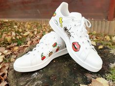 White Adidas Stan Smith with Commes Des Garcons heart logo