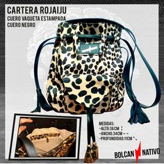 CARTERA | ROJAIJU  -Cuero crudo estampado -Cuero Negro CARTERAS DE CUERO | Bolcan Nativo