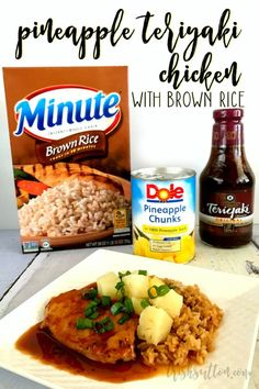 Easy family meal with just four ingredients. Pineapple Teriyaki Chicken With Brown Rice Crock Pot Recipe Chicken Teriyaki Rezept, Teriyaki Pineapple Chicken, Teriyaki Chicken And Rice, Chicken Rice Recipes, Chicken And Brown Rice, Easy Crockpot Chicken, Brown Rice Recipes, Crockpot Recipes, Freezer Recipes