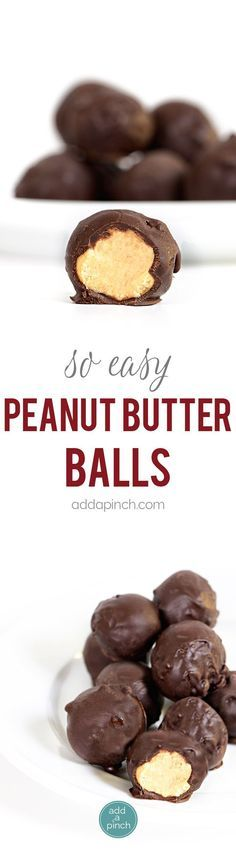 Peanut Butter Balls Recipe - the perfect combination of peanut butter and chocolate! This simple, no-bake recipe makes peanut butter balls everyone loves! - to add himalayan pink salt Candy Recipes, Sweet Recipes, Baking Recipes, Cookie Recipes, Dessert Recipes, Brownie Recipes, Rice Recipes, Peanut Butter Balls, Peanut Butter Recipes