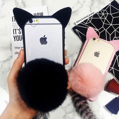 furry cat tail case cover for iPhone 5s 6 6s plus gift 256