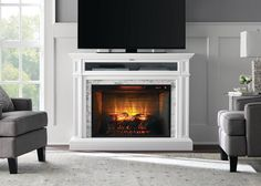 Free Standing Electric Fireplace, White Electric Fireplace, Wall Mount Electric Fireplace, Electric Fireplaces, Stone Mantel, Rustic Mantel, Traditional Fireplace, Modern Fireplace, Fireplace Ideas
