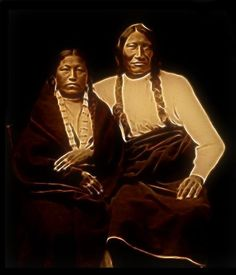 Chief Rocky Bear had the reputation of being a great fighter when his people were on the war path.   He became a great leader in  Council. He is photographed with his wife.