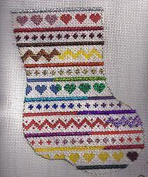 in good company needlepoint mini sock showing kreinik holographic threads