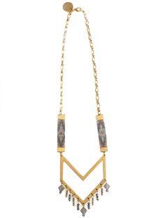 Designer statement necklace handmade in UK by Shh by Sadie.  Hand beaded straps, gold chevron and Swarovski crystals.