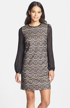 Donna Ricco Blouson Sleeve Lace Shift Dress (Regular & Petite) available at #Nordstrom
