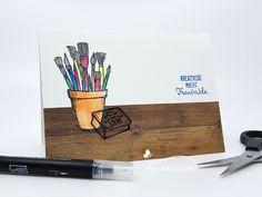 """Kreativität macht Freu(n)de - Willkommenskarte für ein neues Team-Mitglied mit dem Stempelset """"Kreiert mit Liebe"""". Mehr Informationen auf meinem Blog."""