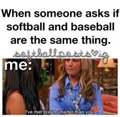 OMG yasss or is softball easier than baseball??? Go fall in a hole  .___.