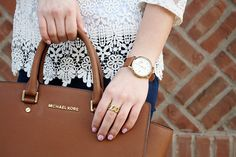 White lace top, fossil watch, michael kors selma handbag, cognac, luggage accessories, cute look, spring style, spring outfit, classic style