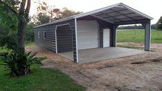 Combo A-frame Vertical roof- garage- carport – Better Metal Buildings Eagle Carports, Carolina Carports, Metal Buildings For Sale, Custom Garages, Mount Pleasant, Garage Doors, Shed, Outdoor Structures, Frame