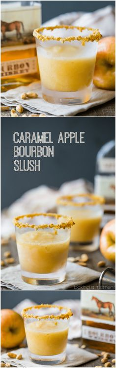 Caramel Apple Bourbon Slush: made with real apples and apple cider, buttery caramel, and toasty bourbon. A perfect fall sipper! #drinks #cocktails #fall via @bakingamoment