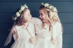 My beautiful flower girls looking like princesses. flower girls/ fall wedding/ autumn wedding/ ivory flower girl dresses/ flower girl head wreath/ flower girl fun pictures (By Red Shoe Bride Photography)