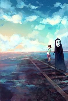 No Face and Chihiro. Rails in the water. Beautiful colors.