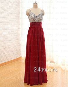A-line Red Chiffon Long Prom Dresses, Evening Dresses – 24prom #prom #promdress #promdresses #dress #formaldress