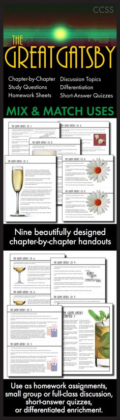 Use this visually stunning package of chapter-by-chapter questions covering F. Scott Fitzgerald's masterpiece, The Great Gatsby, to pull your students into the text and inspire them to think deeply about Fitzgerald's characters and themes. Teaching Strategies, Teaching Tips, Teaching Reading, Learning, High School Classroom, English Classroom, English Teachers, Classroom Ideas, Scott Fitzgerald