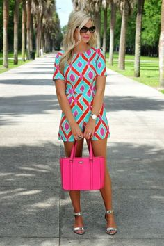 ~~~SPRING AND SUMMER FASHION TRENDS! Adorable bright pink and teal romper. Love the hot pink purse to match! Try stitch fix today to get looks just like these handpicked for you by your own personal Look Fashion, Street Fashion, Womens Fashion, Fashion Trends, Fashion Ideas, Fashion Outfits, Fashion 2014, Latest Fashion, Fashion Styles